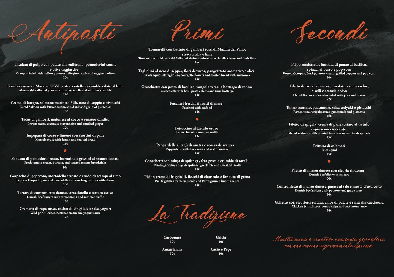 ristorante bracciano menu